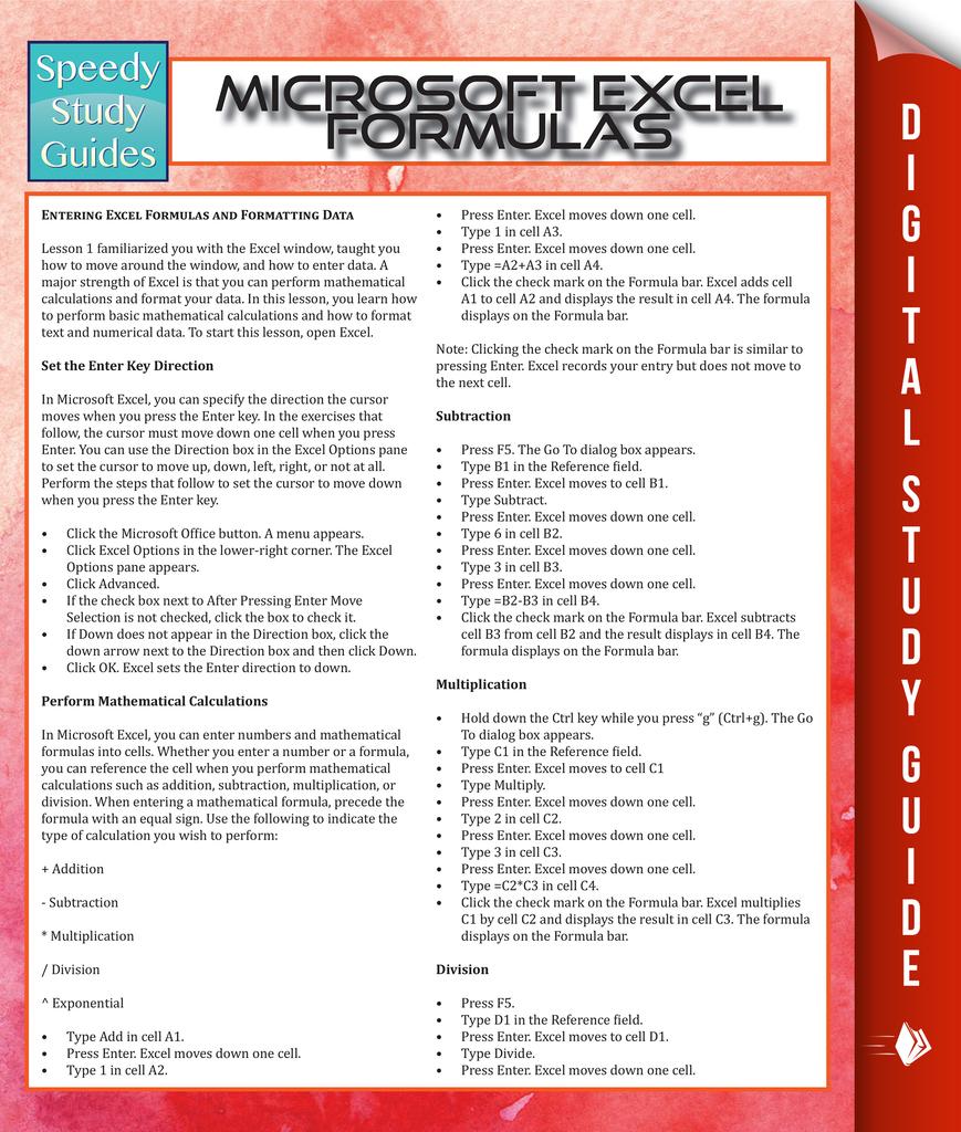 Read Microsoft Excel Formulas Online by Speedy Publishing   Books