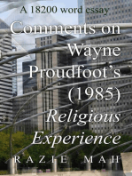 Comments on Religious Experience (1985) by Wayne Proudfoot