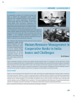 Issues and Challenges in Cooperative Banks in India - Human Resource Management
