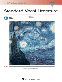 Standard Vocal Literature - An Introduction to Repertoire: Bass