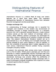 Distinguishing Features of International Finance
