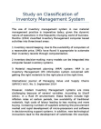 Study on Classification of Inventory Management System