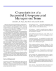 Study on Characteristics of a Successful Entrepreneurial Management Team