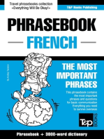 English-French phrasebook and 3000-word topical vocabulary