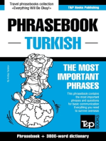 English-Turkish phrasebook and 3000-word topical vocabulary
