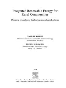 Integrated Renewable Energy for Rural Communities: Planning Guidelines, Technologies and Applications