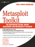 Metasploit Toolkit for Penetration Testing, Exploit Development, and Vulnerability Research