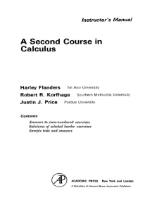 A Second Course in Calculus