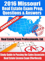 2016 Missouri Real Estate Exam Prep Questions and Answers