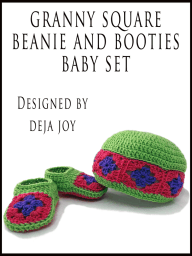 Granny Square Beanie and Booties Baby Set