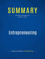 Entrepreneuring (Review and Analysis of Brandt's Book)