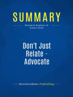 Don't Just Relate - Advocate (Review and Analysis of Urban's Book)