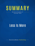Less Is More (Review and Analysis of Jennings' Book)