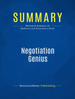 Negotiation Genius (Review and Analysis of Malhotra and Bazerman's Book)