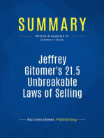 Jeffrey Gitomer's 21.5 Unbreakable Laws of Selling (Review and Analysis of Gitomer's Book)