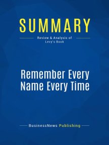 Remember Every Name Every Time (Review and Analysis of Levy's Book)