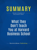 What They Don't Teach You at Harvard Business School (Review and Analysis of McCormack's Book)
