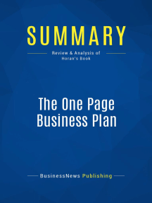 The One Page Business Plan (Review and Analysis of Horan's Book)