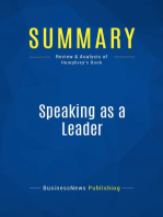 Speaking as a Leader (Review and Analysis of Humphrey's Book)