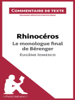 Rhinocéros de Ionesco - Le monologue final de Bérenger
