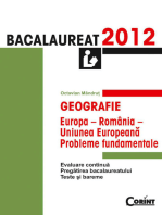 Geografie. Bacalaureat 2012 – Europa-România-Uniunea Europeană