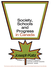 Society, Schools and Progress in Canada: The Commonwealth and International Library: Education and Educational Research