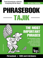 English-Tajik phrasebook and 1500-word dictionary