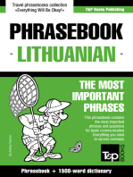 English-Lithuanian phrasebook and 1500-word dictionary