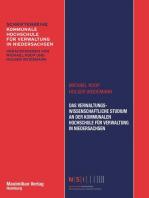 Das Verwaltungswissenschaftliche Studium an der Kommunalen Hochschule für Verwaltung in Niedersachsen