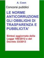 Le norme anticorruzione, gli obblighi di trasparenza e pubblicità - Sintesi per concorsi pubblici
