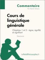 Cours de linguistique générale de Saussure - Chapitres 1 et 2