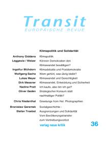 Transit 36. Europäische Revue: Klimapolitik und Solidarität