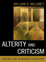 Alterity and Criticism: Tracing Time in Modern Literature
