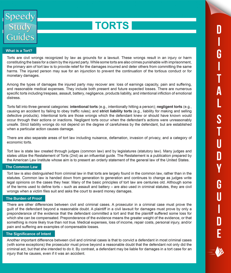 Torts (Speedy Study Guides) by Speedy Publishing by Speedy Publishing -  Read Online