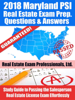 2018 Maryland PSI Real Estate Exam Prep Questions and Answers
