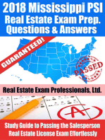 2018 Mississippi PSI Real Estate Exam Prep Questions and Answers