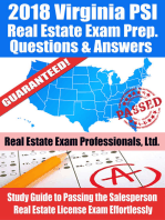 2018 Virginia PSI Real Estate Exam Prep Questions, Answers & Explanations