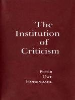 The Institution of Criticism