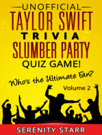 Unofficial Taylor Swift Trivia Slumber Party Quiz Game Volume 2