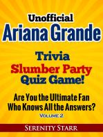 Unofficial Ariana Grande Trivia Slumber Party Quiz Game Volume 2