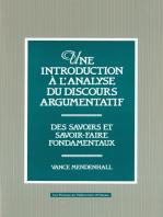 Une Introduction à l'analyse du discours argumentatif: Des savoirs et savoir-faire fondamentaux