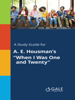 """A Study Guide for A. E. Housman's """"When I Was One and Twenty"""""""