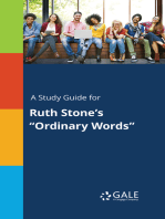 """A Study Guide for Ruth Stone's """"Ordinary Words"""""""