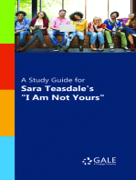 """A Study Guide for Sara Teasdale's """"I Am Not Yours"""""""