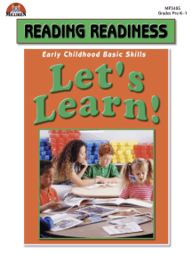 Let's Learn! Reading Readiness Activities