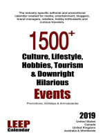 1500+ Culture, Lifestyle, Hobbies, Tourism & Downright Hilarious Events Promotions, Holidays & Anniversaries for 2019