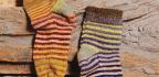 Striped Kureyon Socks with a Magic Loop