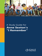 """A Study Guide for Anne Sexton's """"I Remember"""""""