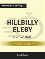 "Summary: ""Hillbilly Elegy: A Memoir of a Family and Culture in Crisis by J. D. Vance 