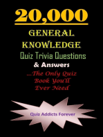 20,000 General Knowledge Quiz Trivia Questions and Answers